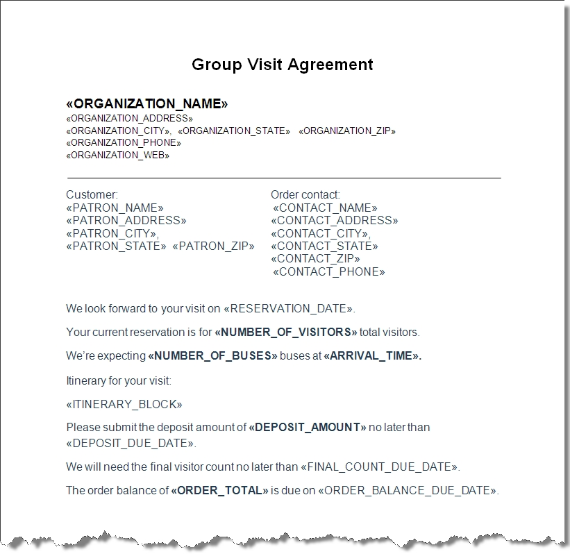 group sales contract with itinerary