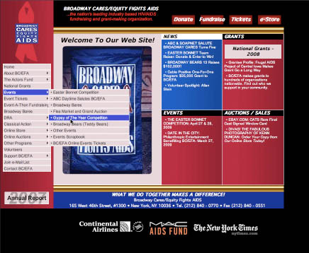 Broadway Cares / Equity Fights AIDS - Old Web Design