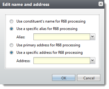 new arrival a0e1f 1fb0d To use an alias, click Use a specific alias for R68 processing and then  select an option in the Alias field. To use an address other than the  primary, ...
