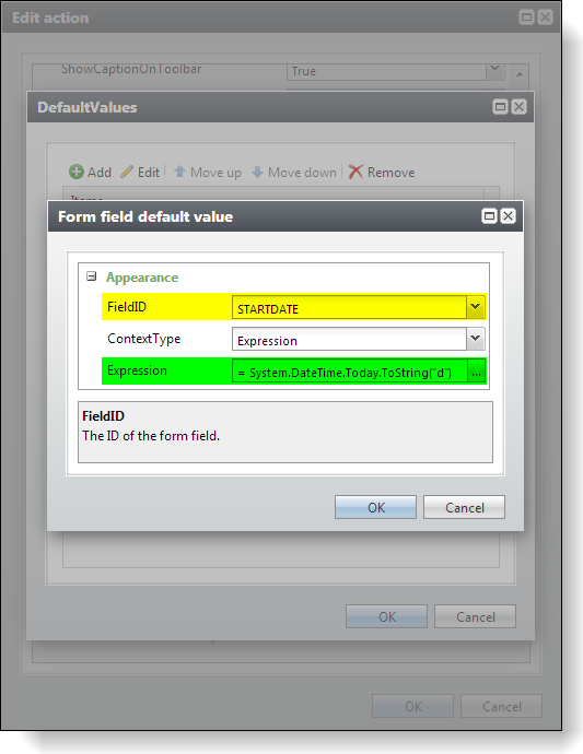 Adding an Add Form Default Value to an Action within a Page