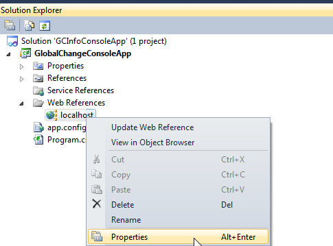 Global Change Console Application Source Code