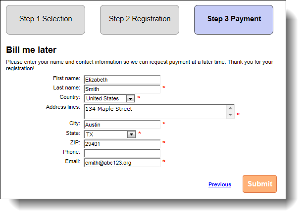credit card payment information form