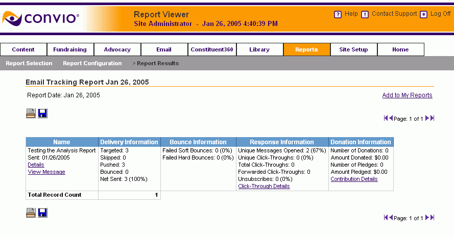 Sample Email Tracking Report